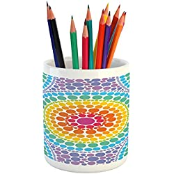Lunarable Rainbow Pencil Pen Holder, Concentric Circles Retro Inspired Color Scheme Psychedelic Art Dotted Pattern, Printed Ceramic Pencil Pen Holder for Desk Office Accessory, Aqua Multicolor