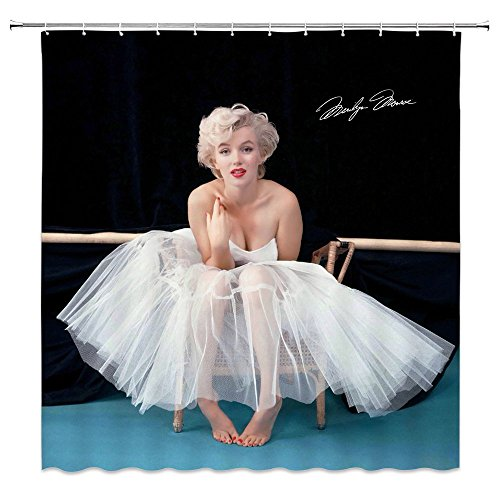 AMHNF Marilyn Monroe Shower Curtain Beautiful Sexy White Wedding Dress Classic Photo StarSignature Simple Black 70 X 70 Inch Home Polyester Fabric Waterproof Bathroom Accessories Hanging Curtains ()