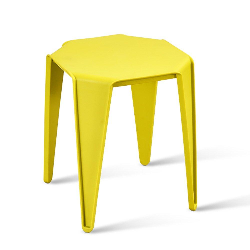 ダイニングスツールプラスチックシンプルなファッションスツール家庭レストラン屋外バーベキュー小さなベンチ (色 : イエロー いえろ゜, サイズ さいず : Set of 4) B07FB5JPGR Set of 4|イエロー いえろ゜ イエロー いえろ゜ Set of 4