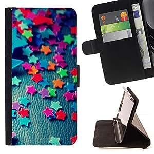 Momo Phone Case / Flip Funda de Cuero Case Cover - Trullo Estrellas caramelo Patrón minimalista - Huawei Ascend P8 Lite (Not for Normal P8)