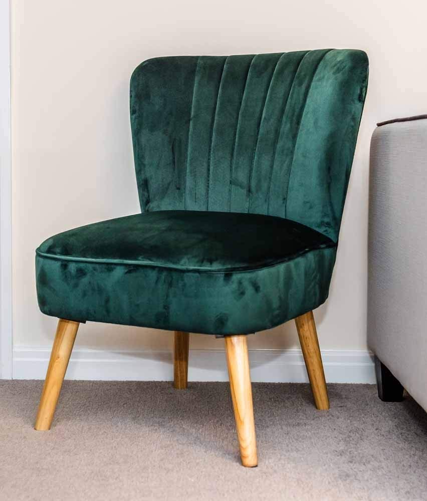 1950s Accent Chairs.Sr Velvet Oyster Occasional Chair Emerald Green Fluted 1950 S