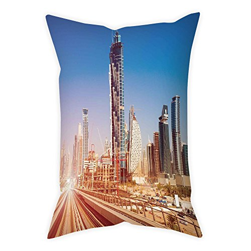 iPrint Polyester Throw Pillow Cushion Cover,Urban,Modern Subway Line in Dubai Tracks Skyscrapers Futuristic View Commercial,Light Brown Blue White,Decorative Square Accent Pillow Case by iPrint