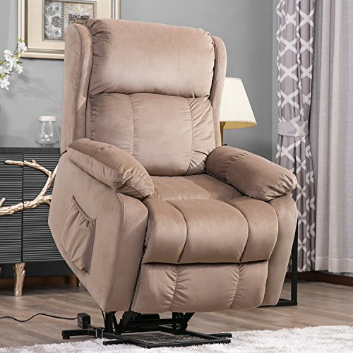 Merax Harper&Bright Designs Power Lift Chair Soft Fabric Upholstery Recliner Living Room Sofa Chair with Remote(Beige)
