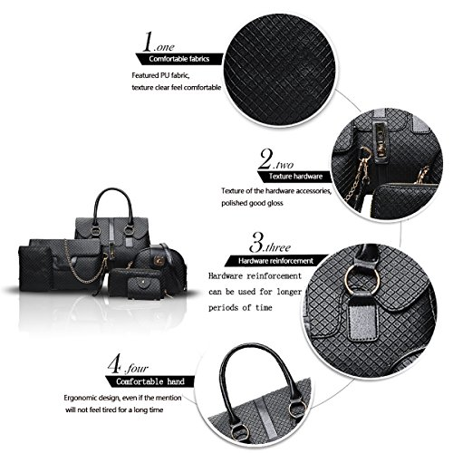 Ladies of 2018 Handbags Bag Sets Handbag top Black Handbags 6 Sdinaz Cross New Retro Shoulder xEnCdqEf08
