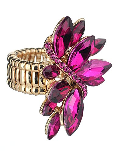 NYFASHION101 Women's Vine Marquis Stone Stud Fashion Stretch Ring, Fuchsia