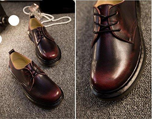 Europas neuer Frauen Studenten Stil Kunstleder flachem Absatz Thin Schuhe Martin-Stiefel Rub rot