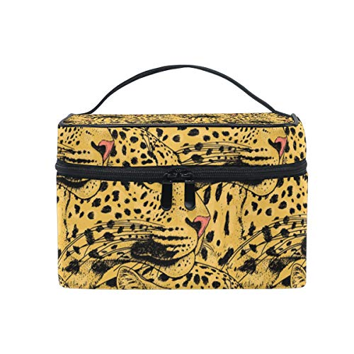 Makeup Cosmetic Bag Abstract Animal Leopard Face Pattern Portable Storage with -