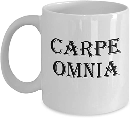Amazon Com Carpe Omnia Mug Seize It All White Coffee Cup Gift Kitchen Dining