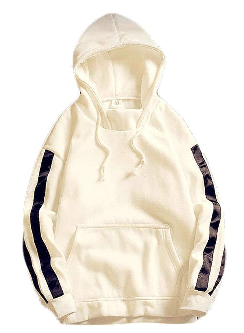Fllay Men Pocket Long Sleeve Striped Pullover Hoodie Sweatshirt