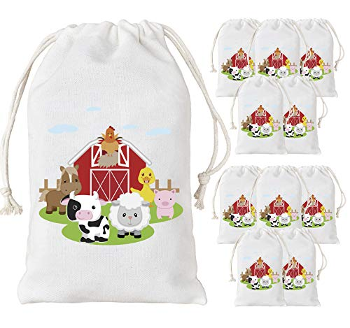 KREATWOW Farm Animal Party Favor Bags Barnyard Party Treat Goody Candy Bags for Birthday Party Baby Shower Supplies 5 x 8 inches 12 Pack ()