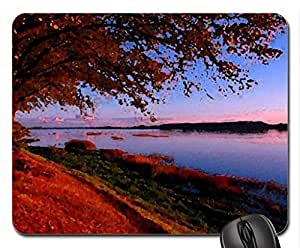 Autumn sunset Mouse Pad, Mousepad (Rivers Mouse Pad, Watercolor style) by mcsharks