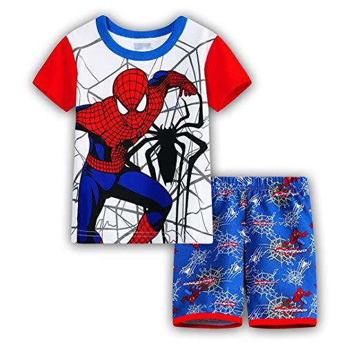2 Piece Kids Spider-Man Superhero Pajamas Set Boy's Girl's T-Shirt Shorts (Style-13, 110cm/5T)