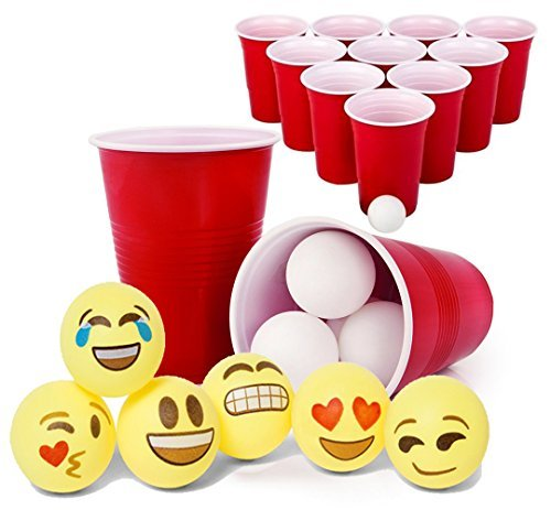 Totem World Beer Pong Game Set - 12 Red Cups + 24 White Ping-Pongs + 6 Emoji -