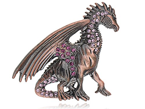 Alilang Antique Copper Purple Pink Amethyst Colored Rhinestone Vintage Inspired Dragon Brooch Pin