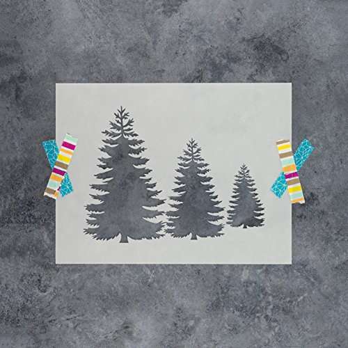 Pine Trees Stencil Template - Reusable Stencil with Multiple Sizes Available (Tree Border Pine)