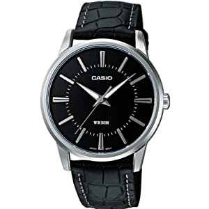 CASIO Collection LTP-1303L-1AVEF - Reloj de cuarzo con correa de cuero para mujer, color negro