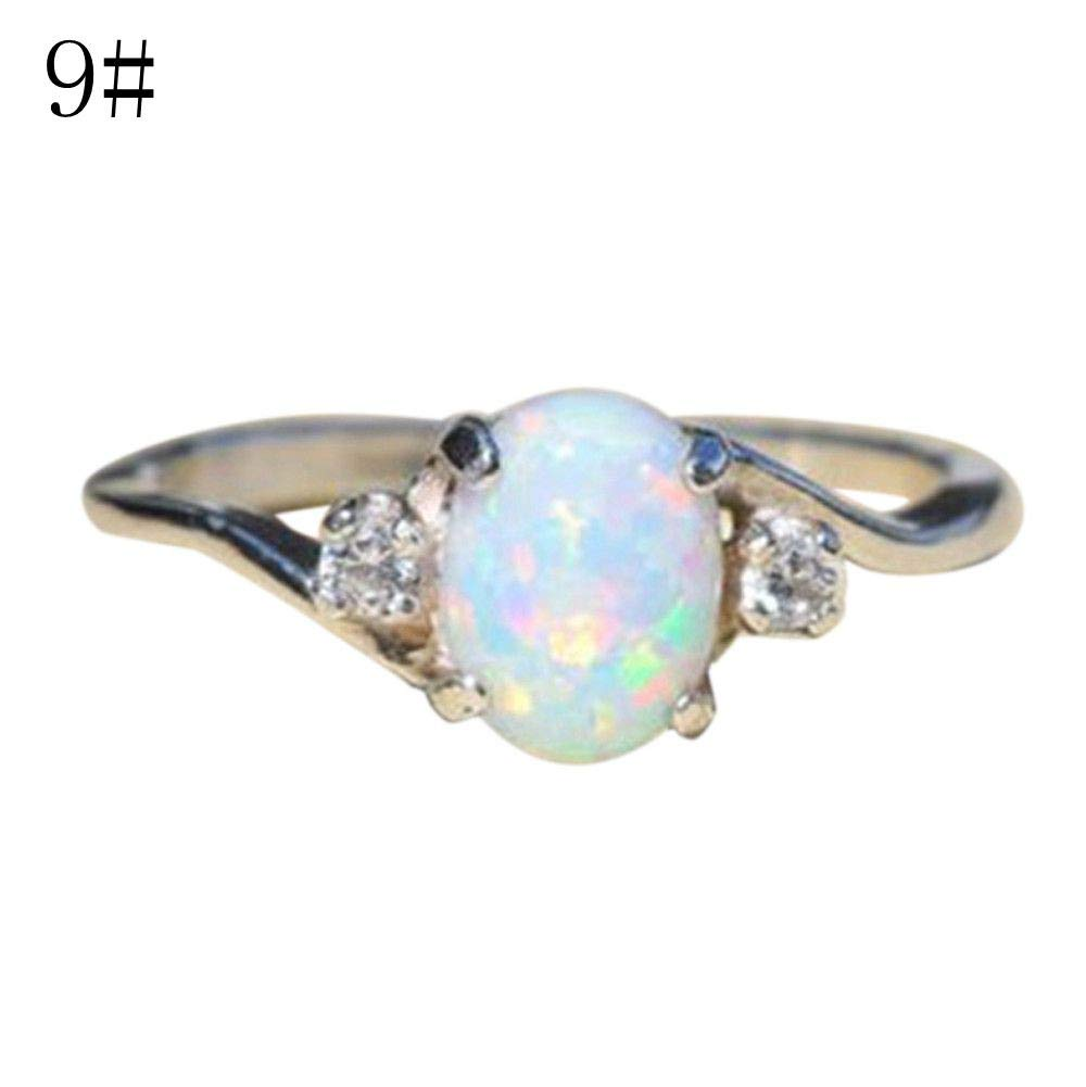 Gbell Romantic Women's Oval Cut Opal Anniversary Rings- Sterling Silver Diamond Rings Bridal Promise Engagement Party Band Rings for Women Ladies Valentine Birthday Jewelry Gift, Size 6-10 by Gbell (Image #1)