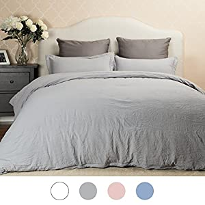 Duvet Cover Set with Zipper Closure-Solid Vintage Grey,Full/Queen (90