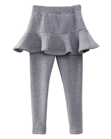 Leggings Térmicos Niñas Color Sólido Cálido Pantalones con Falda ...