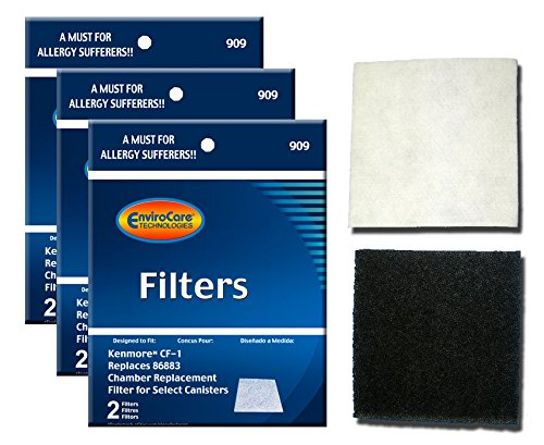 Envirocare Foam Filters to fit Kenmore Sears Progressive CF1, Progressive & Whispertone, Panasonic Vacuum Cleaners, 86883, 86880, 20-86883, 2086883, 8175084 (pack of 6)