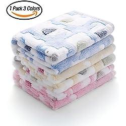 Luciphia 1 Pack 3 Blankets Super Soft Fluffy Premium Fleece Pet Blanket Flannel Throw for Dog Puppy Elephant Medium