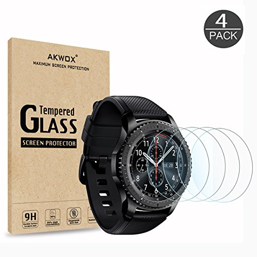 (4-Pack) Gear S3 Tempered Glass Screen Protector, Akwox [0.3mm 2.5D High Definition 9H] Premium Clear Screen Protective Film for Samsung Gear S3 Frontier / Classic Smart Watch 1.3 Inch