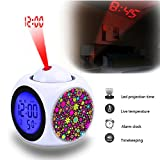 Projection Alarm Clock Wake Up Bedroom with Data and Temperature Display Talking Function, LED Wall/Ceiling Projection,Customize the pattern-188.Floral Wallpaper Background Flowers
