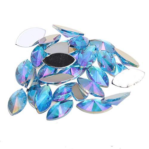 Kamas Many Colors 7x15mm 30pcs Acrylic Beads Flat Back Marquise Pointed Glue On Nail Art Rhinestones DIY Jewelry Making Supplies - (Color: 06 aquamarine AB)