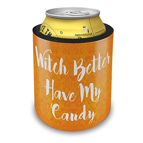 NEONBLOND Witch Better Have My Candy Halloween Orange Wallpaper Slap Can Cooler Insulator Sleeve -