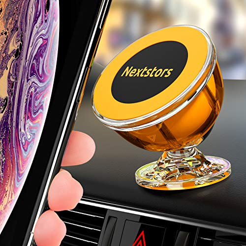 Nextstors Magnetic Phone Car Mount Universal Magnetic Phone Holder for Car 360 Degree Rotation from Dashboard Cell Phone Holder for Car Compatible with All Smartphones (Orange)