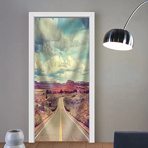 Niasjnfu Chen custom made 3d door stickers Vintage stylized desert road travel concept. Fabric Home Decor For Room Decor 30x79 by Niasjnfu Chen
