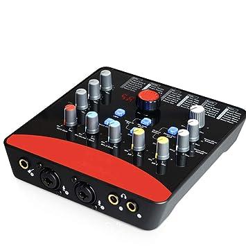 ZXCV Tarjeta de Sonido Externa Profesional 2 entradas de micrófono ...
