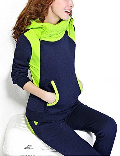 BYD Mujeres 2pcs Conjuntos Chándales Deportivos Casual Collar de Pilas Hoodie Sweatshirt Sudadera con Capucha + Pantalones Azul