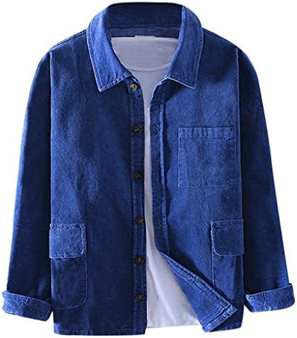 ANJUNIE Mens Corduroy Plain Jacket with Multi Pockets Casual Shirts Cardigan Outwear Coat