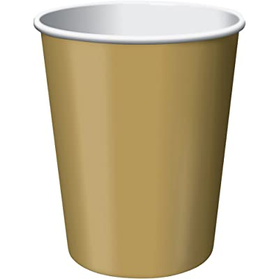 Creative Converting Paper Hot/Cold Cups, 9-Ounce., Glittering Gold Color, 24 count: Kitchen & Dining