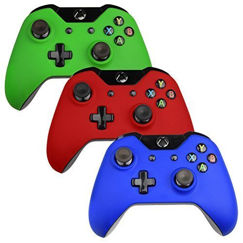 Xbox-One-Controller-FacePlate SlickBlue 3 Pack Rigid Plastic Faceplate Series for Xbox One DualShock Controllers - 3 Pack (Green / Red / Blue)