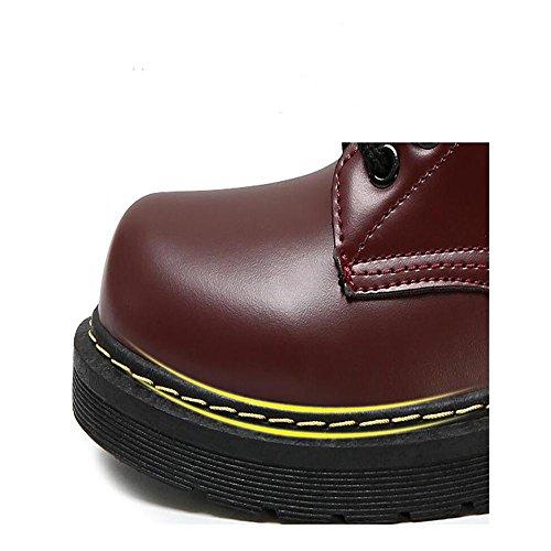 Schuhe PU Kunstleder Rot Rot Hochentwickelter Schnürschuh Damen wasserdicht Damen Stiefeletten Schwarz rutschfest Martin Stiefel B4xgTzqwI1