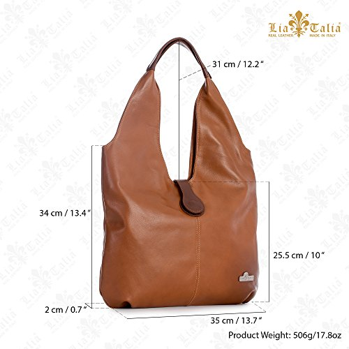 Brown Hobo Trim Genuine Liatalia Red Italian Large Zoe Leather Bag Soft Tote Boho Shopper Shoulder Deep BqY64w