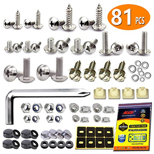 (License Plate Screws Fasteners - Rust Stainless Steel Screws License Plate Bolts Fasteners for License Plates & Plate Frame on Cars Trucks, Black & Chrome Screw Caps | Fasteners Ultimate Kit -81 PC)