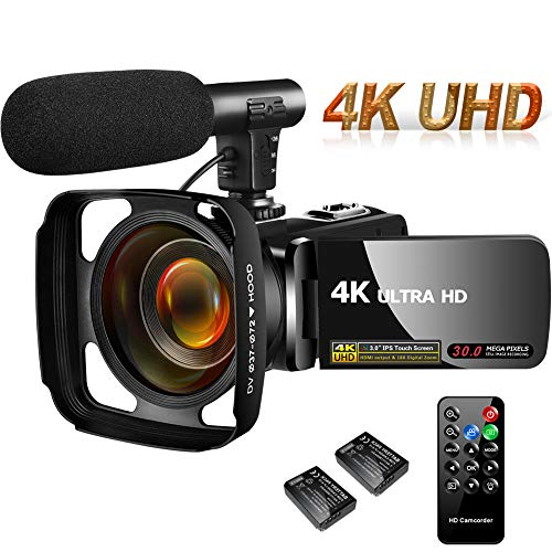 Lowest Price! 4K Camcorder Video Camera,Vlogging Camera for YouTube 30MP Camcorder 3.0 Inch Touch Sc...