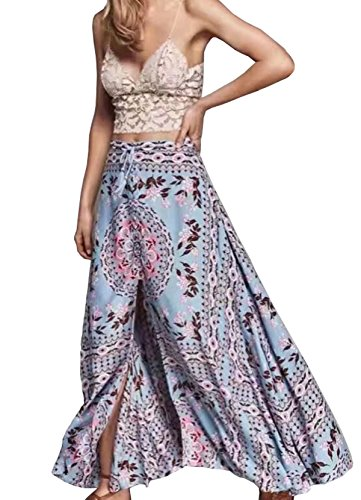 (R.Vivimos Womens Summer Cotton Vintage Floral Print Boho Casual Long Skirt Medium Blue)