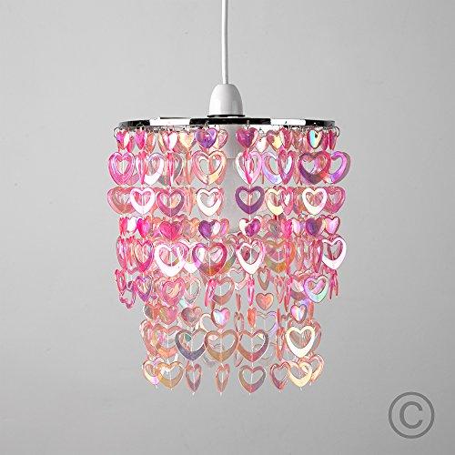 Beautiful Pretty Pink Acrylic Love Heart Beads Ceiling Pendant Children s  Light Shade  Amazon co uk  Lighting. Beautiful Pretty Pink Acrylic Love Heart Beads Ceiling Pendant