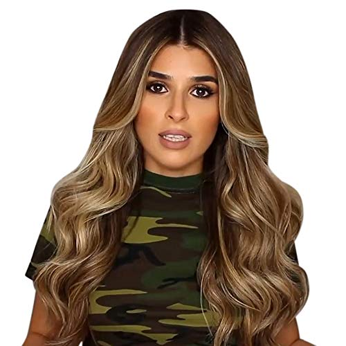 70CM Natural Brown Party Wig Long Curly Hair Fashion Girl Synthetic Wig -