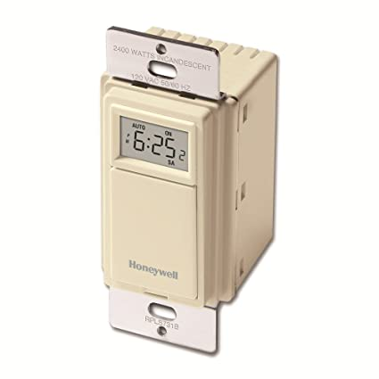 Honeywell LPR731B1009/U 7 días EconoSWITCH Temporizador programable de luces, luz almendra
