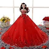 Zehui Doll Furnishing Articles Chinese Doll with Elegant Paillette Wedding Gown Wedding Doll Toy Children's Room Decoration Creative Gifts Red