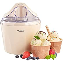 VonShef 220 240 Volts Ice Cream Maker, Sorbet & Frozen Yogurt Machine | 1.5L Vanilla - Includes 2 Bowls | Bundled With Dynastar Plug Adapters | 220v 240v (NOT FOR USA)