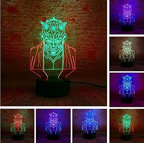 Luz Nocturna Optical Illusion Lamp Increíble Ilusión 3D Star Wars Darth Maul Vassal Jedi Knight Figura Ir Lámpara Multicolor Visual Touch Usb Led Mood ...
