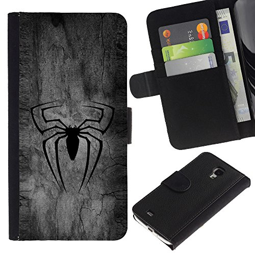 OREGON-X ( Not For Regular S4 i9500 ) Terrific Front Picture Leather Card Slots Pouch Wallet Protection Hard Case Black Cover For Samsung Galaxy S4 Mini i9190 - BLACK SPIDER SUPERHERO