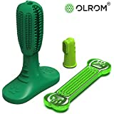 Olrom Dog Toothbrush, Finger Dental Care, Enzymatic Rubber Stick Teeth Cleaning for All Dogs and Puppies, Chewing Toy