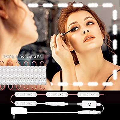 LED Vanity Mirror Lights Kit,4-FQ Makeup Light Dimmable,Vanity Lights Touch Dimmer Led Module Light 9.8ft 60 LED Strip Lights Brightness Daylight Power Supply DIY Bathroom,Bedroom Walls Mirror Lights